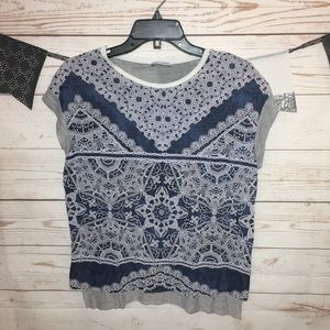 Zara W/B Collection Printed Tee Shirt Raw Gem Sz S